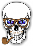 GOTHIC Hipster SKULL With BLUE Evil Eyes and Pipe & Glasses Motif External Vinyl Car Sticker 100x70mm
